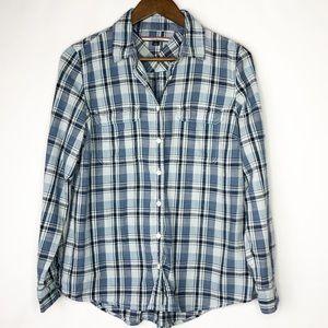 Tommy Hilfiger Blue/White Plaid Long Sleev…